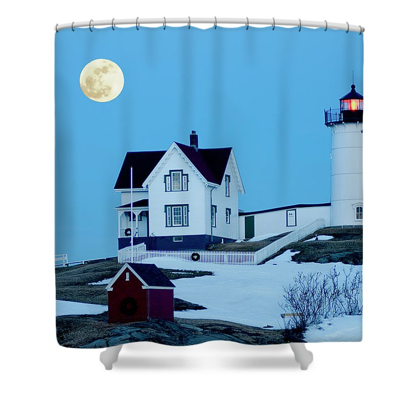 Coast Shower Curtain featuring the photograph Full Moon Nubble by Greg Fortier
