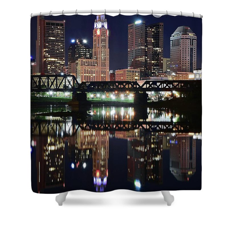 Columbus Shower Curtain featuring the photograph Full Moon Over Columbus Ohio by Frozen in Time Fine Art Photography