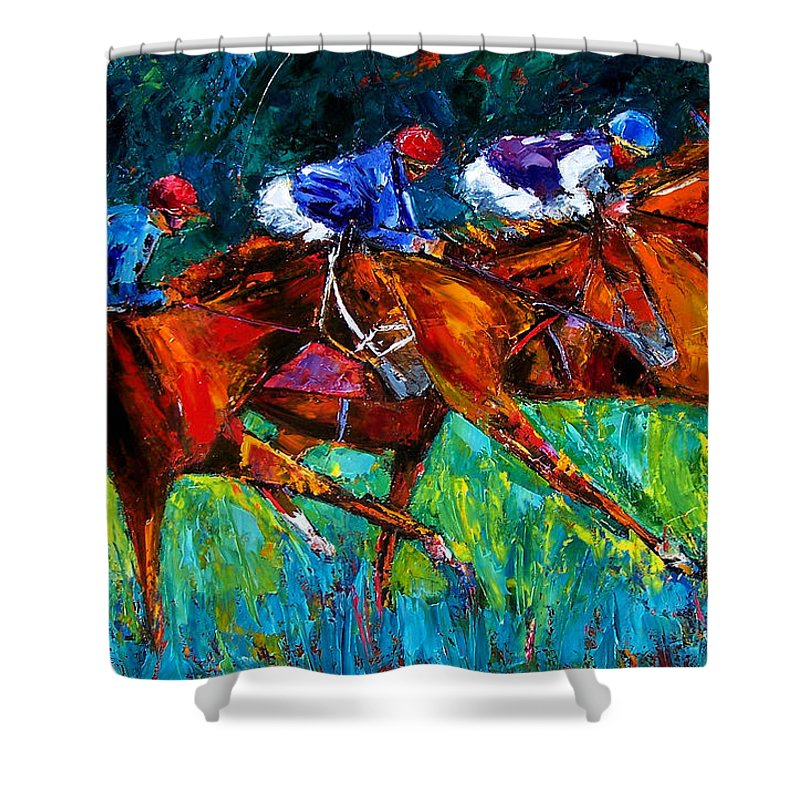 Horse Race Shower Curtain featuring the painting Full Speed by Debra Hurd