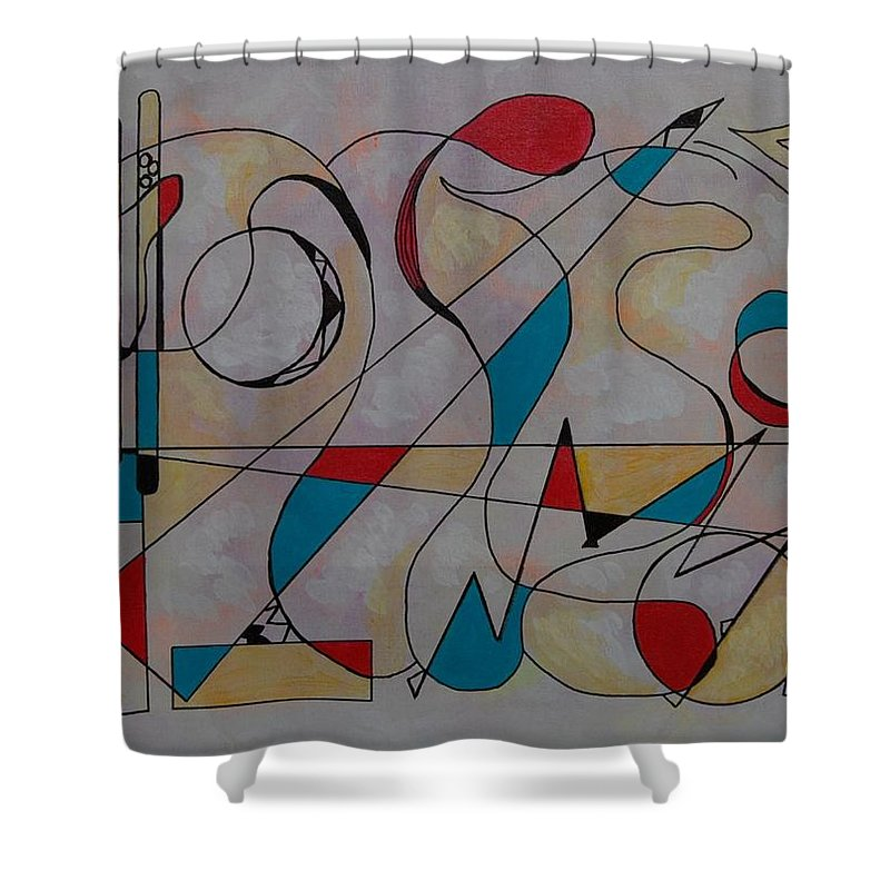 Abstract Shower Curtain featuring the mixed media Fun At Every Corner by Rita Lulay Malsch