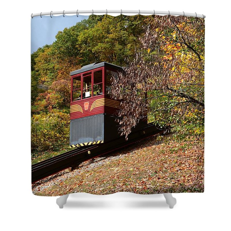 Funicular Shower Curtain featuring the photograph Funicular Descending by Cindy Manero