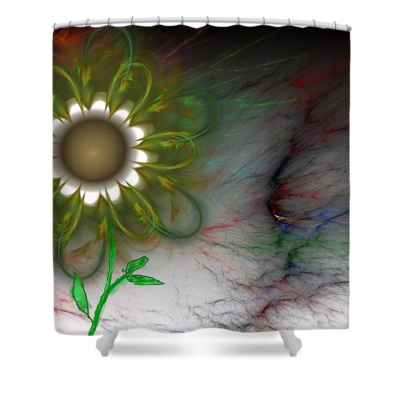 Digital Photography Shower Curtain featuring the digital art Funky Floral by David Lane