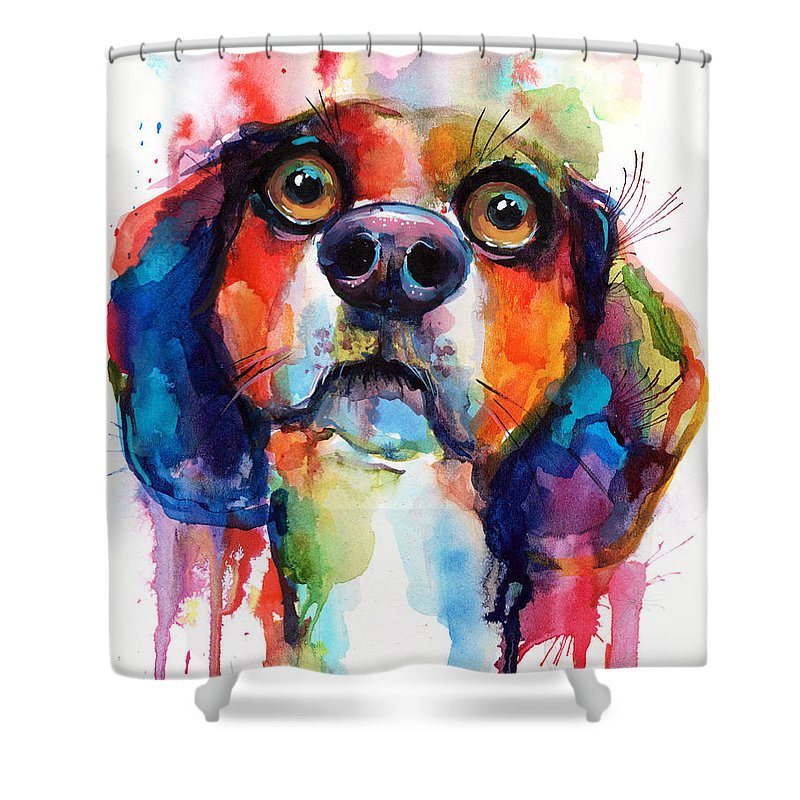 Beagle Shower Curtain Featuring The Painting Funny Dog Art By Svetlana Novikova