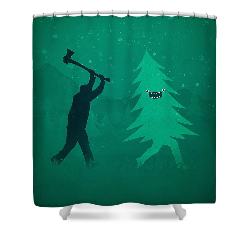 Cute Shower Curtain featuring the digital art Funny Cartoon Christmas Tree Is Chased By Lumberjack Run Forrest Run by Philipp Rietz