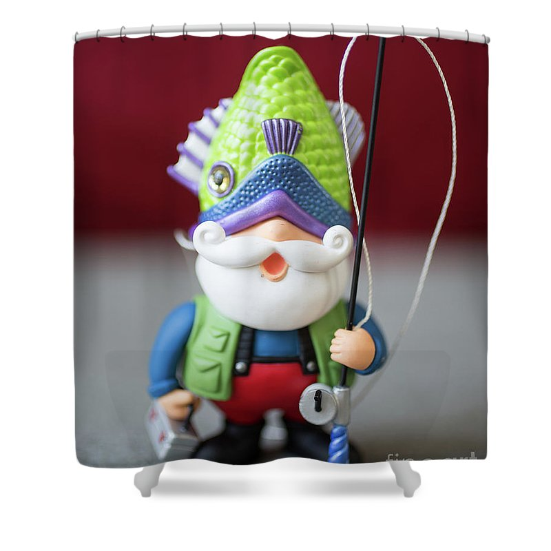 Christmas Shower Curtain featuring the photograph Funny Christmas Fisherman by Edward Fielding