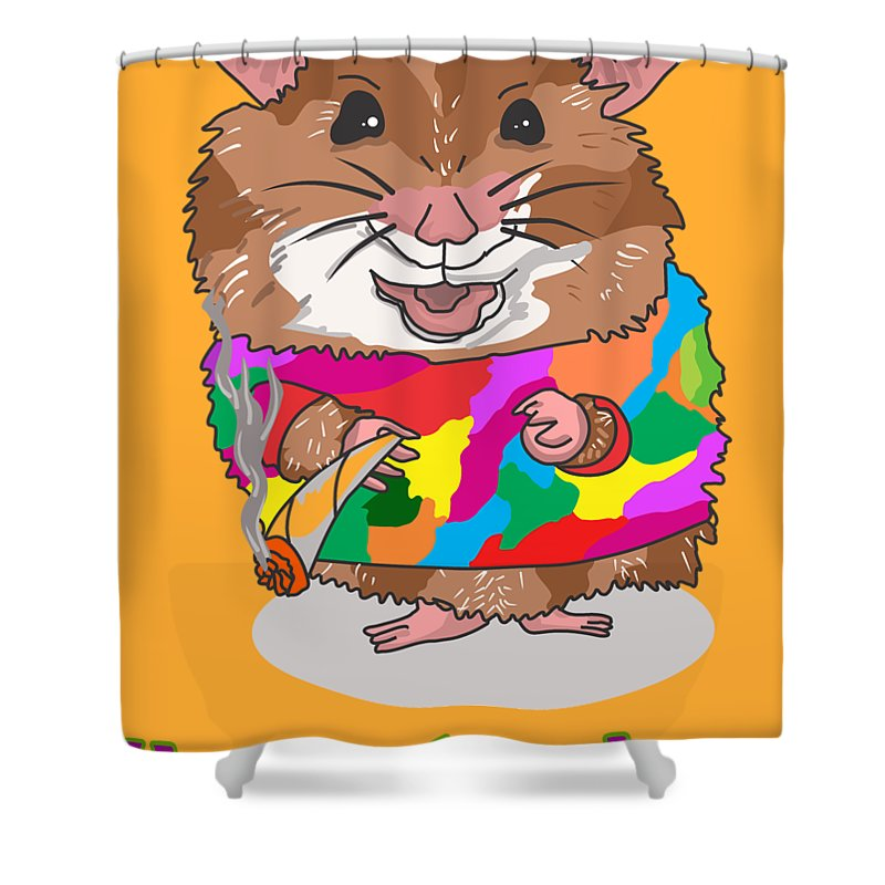 Hamster Shower Curtain featuring the drawing Funny Design Illustration Puns Hamsterdam The Wire by Paul Telling