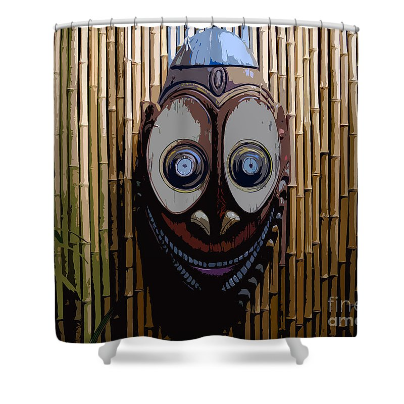 Funny Shower Curtain featuring the digital art Funny Face by David Lee Thompson