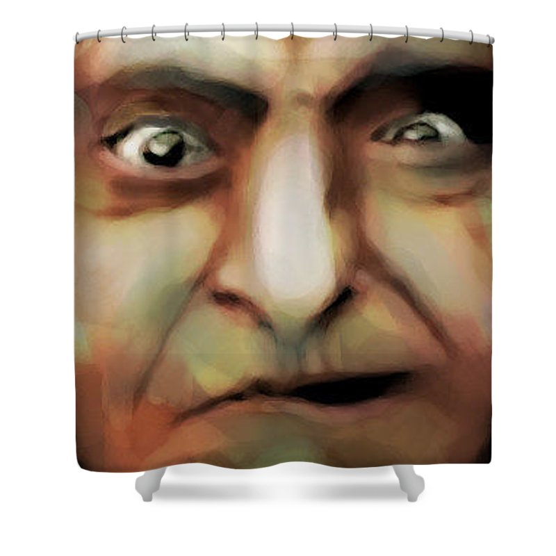 Funny Shower Curtain featuring the digital art Funny Face by Lori Wadleigh
