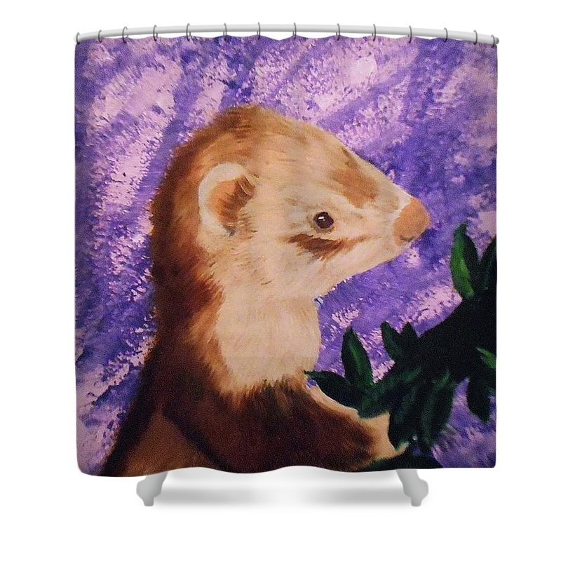 Canvas Print Shower Curtain featuring the painting Funny Ferret by Valenteana J Chilsted