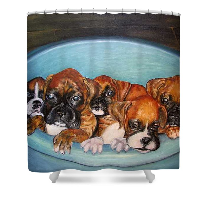 Oil Shower Curtain featuring the painting Funny Puppies orginal oil painting by Natalja Picugina