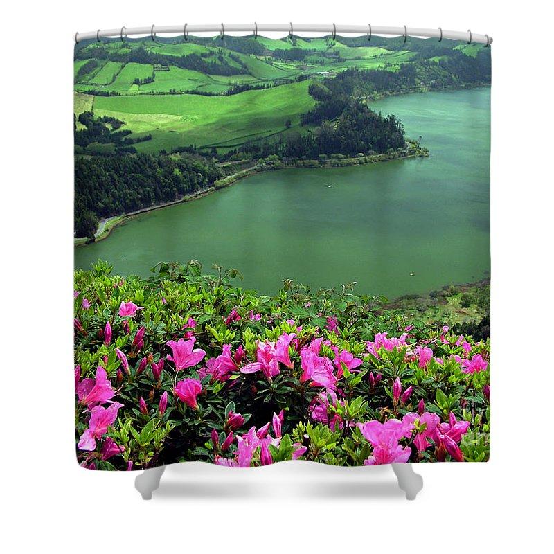 Azaleas Shower Curtain featuring the photograph Furnas Lake Azores by Gaspar Avila