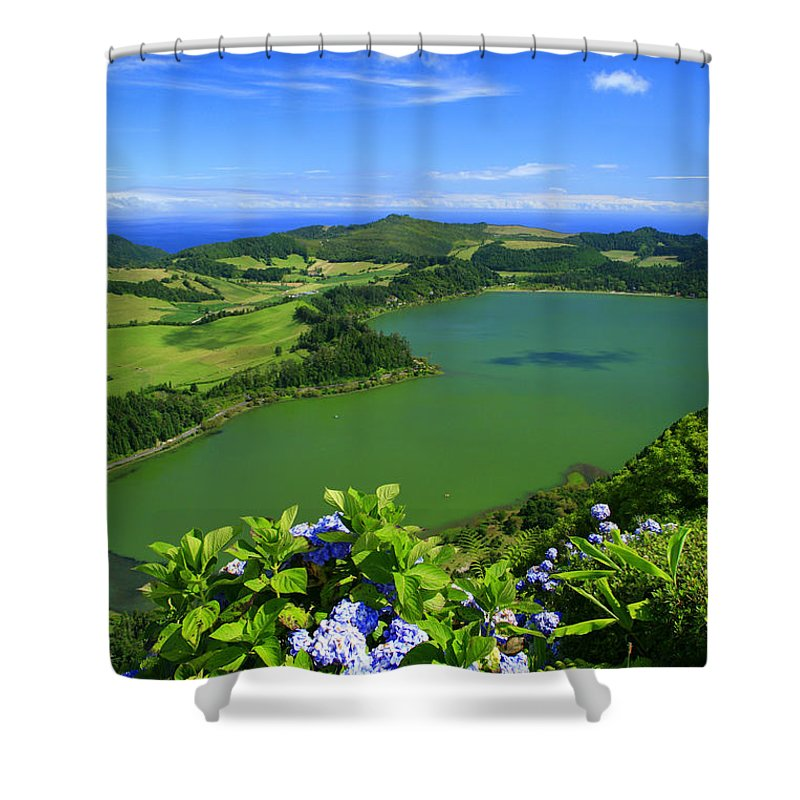 Azores Shower Curtain featuring the photograph Furnas Lake by Gaspar Avila