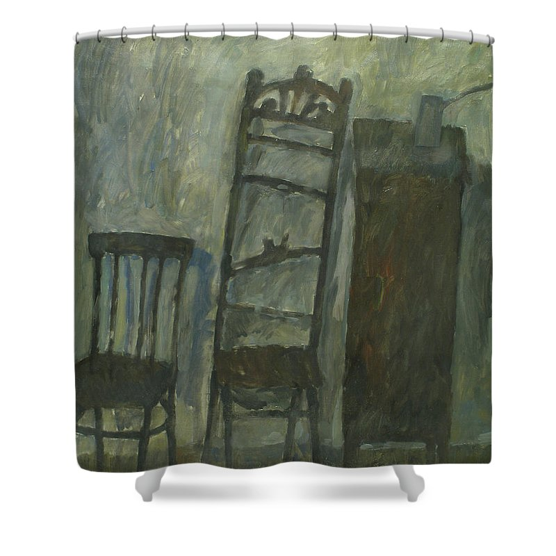 Old Furniture Shower Curtain featuring the painting Furniture by Robert Nizamov