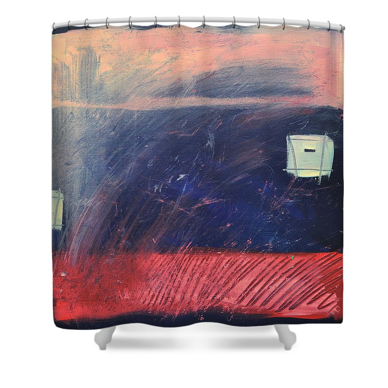 Red Shower Curtain featuring the painting Fyr Bal by Tim Nyberg