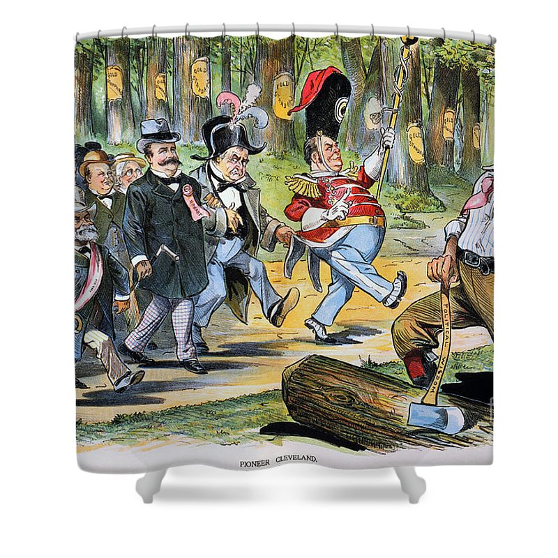 1896 Shower Curtain featuring the photograph G. Cleveland Cartoon, 1896 by Granger