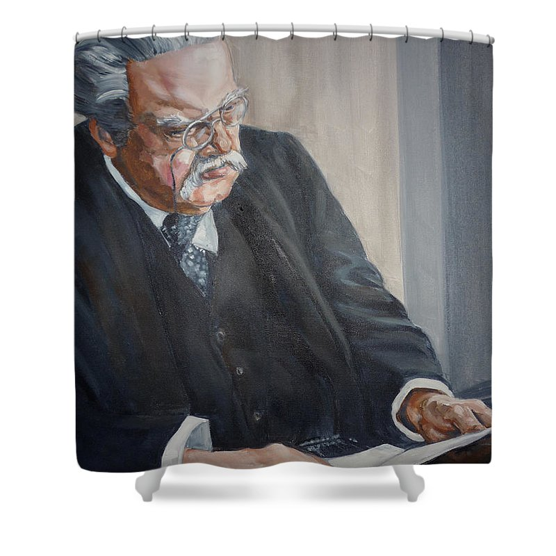 Chesterton Author Catholic Shower Curtain featuring the painting G K Chesterton by Bryan Bustard