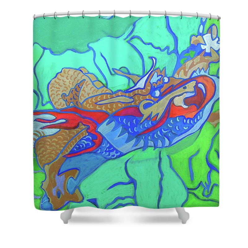 Good Lake Shower Curtain Featuring The Painting Gaasyendietha By Denise Weaver  Ross