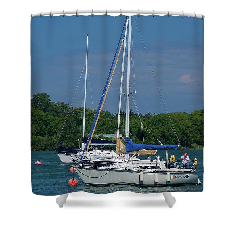 Boat Shower Curtain featuring the photograph Gaelforce 10916 by Guy Whiteley