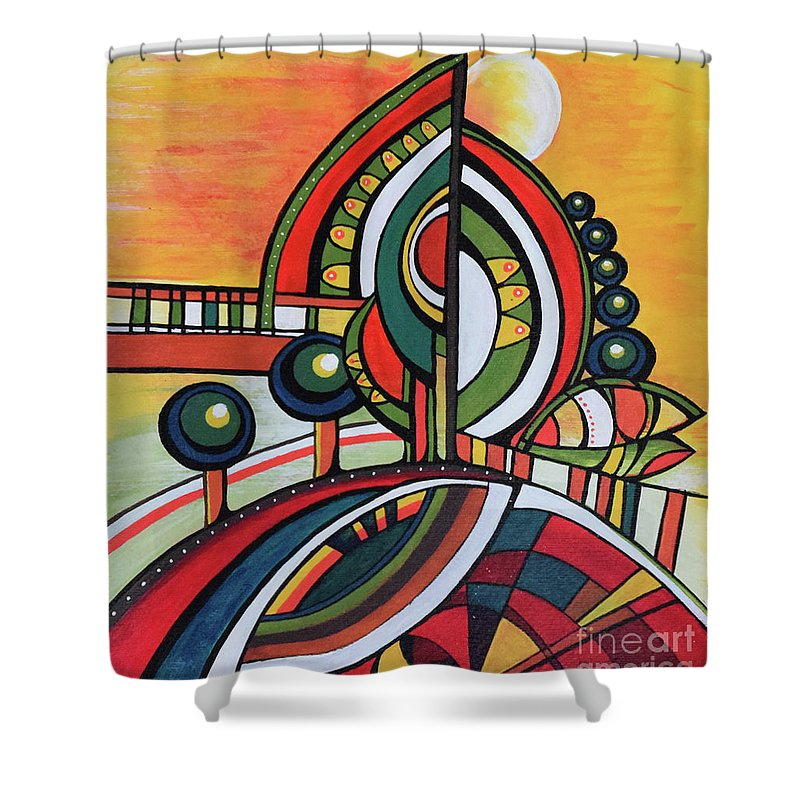 Original Painting Shower Curtain featuring the painting Gaia's Dream by Aniko Hencz