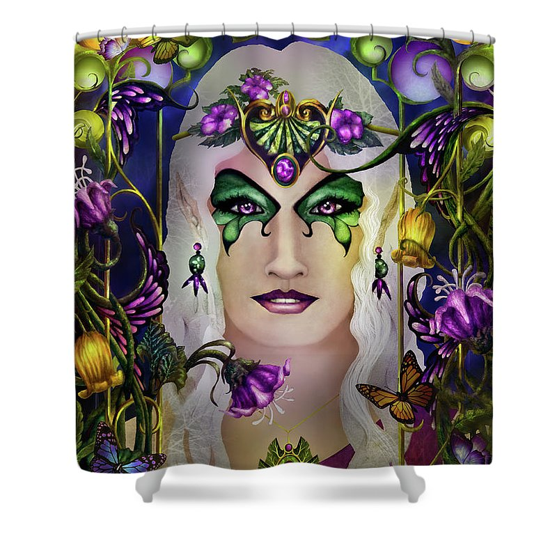Tolkien Shower Curtain featuring the painting Galadriel by Curtiss Shaffer