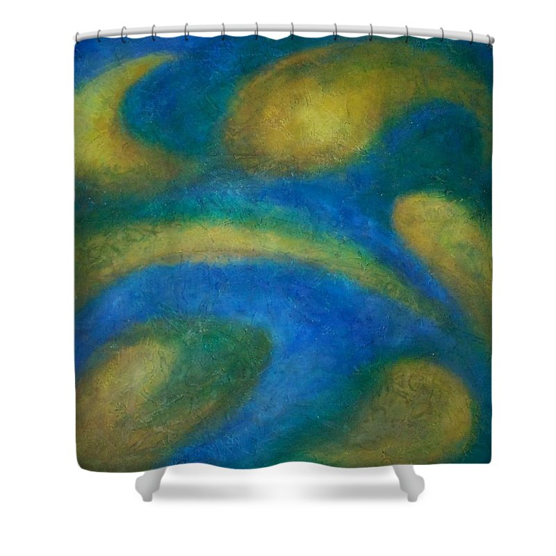 Abstract Shower Curtain featuring the painting Galaxia by Anita Burgermeister