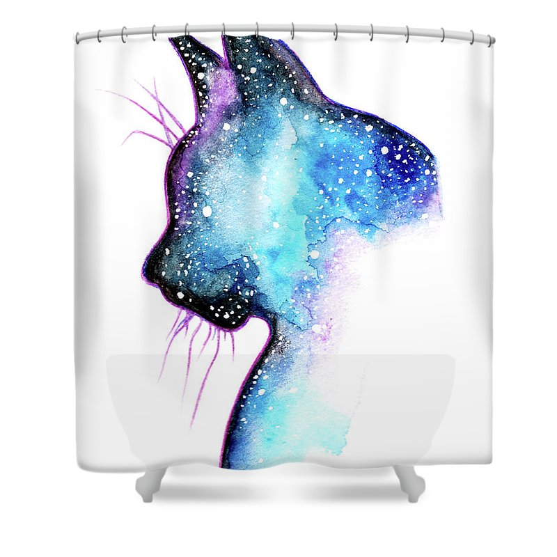 Cat Shower Curtain Featuring The Painting Galaxy By Michela Bonelli