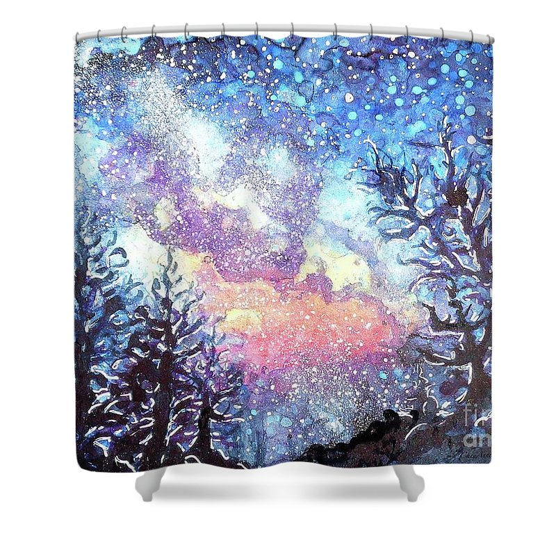 Galaxy Shower Curtain featuring the painting Galaxy Spring Night Watercolor by CheyAnne Sexton