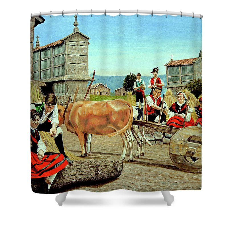 Espaa Shower Curtain Featuring The Painting Galicia Medieval By Tony Banos