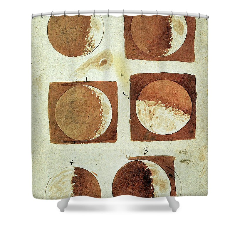 1610 Shower Curtain featuring the painting Galileo - Moon by Granger