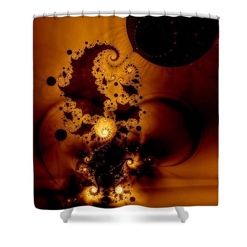 Fractal Shower Curtain featuring the digital art Galileo's Muse by Casey Kotas