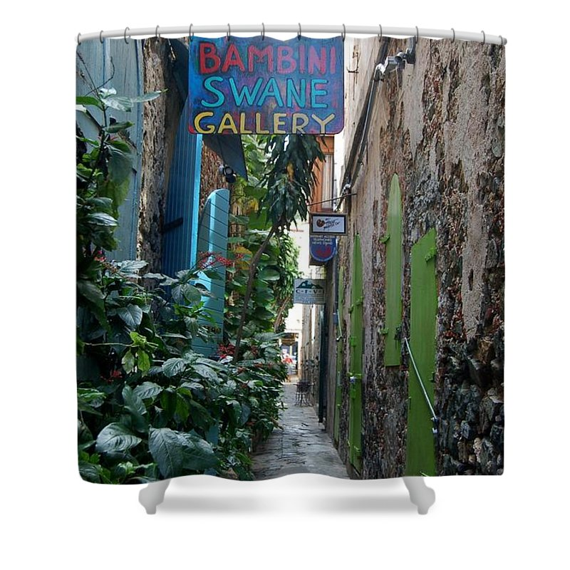 St. Thomas Shower Curtain featuring the photograph Gallery Alley by Christopher James