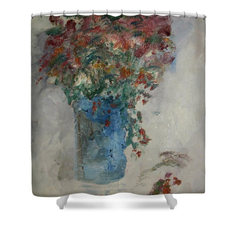 Still Life Shower Curtain featuring the painting Gallon Can Florals by Edward Wolverton
