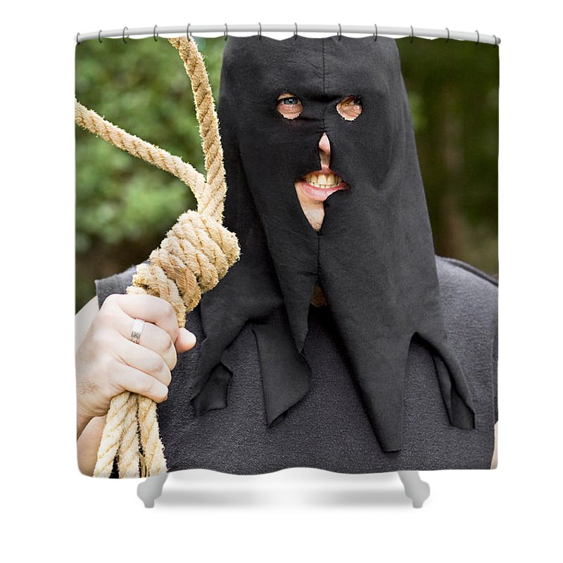 Adult Shower Curtain featuring the photograph Gallows Hangman With Noose by Jorgo Photography - Wall Art Gallery