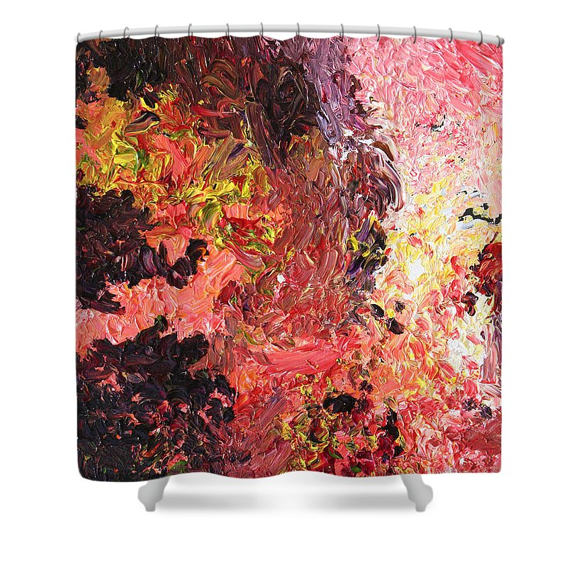 Fusionart Shower Curtain featuring the painting Ganesh in the Garden by Ralph White