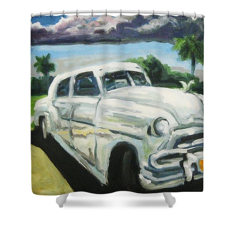 Old Cars Shower Curtain featuring the painting Gangsters On Vacation by John Malone