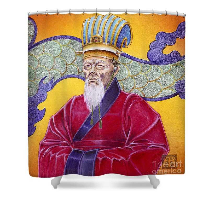 Oriental Shower Curtain featuring the painting Gao Zhang by Melissa A Benson