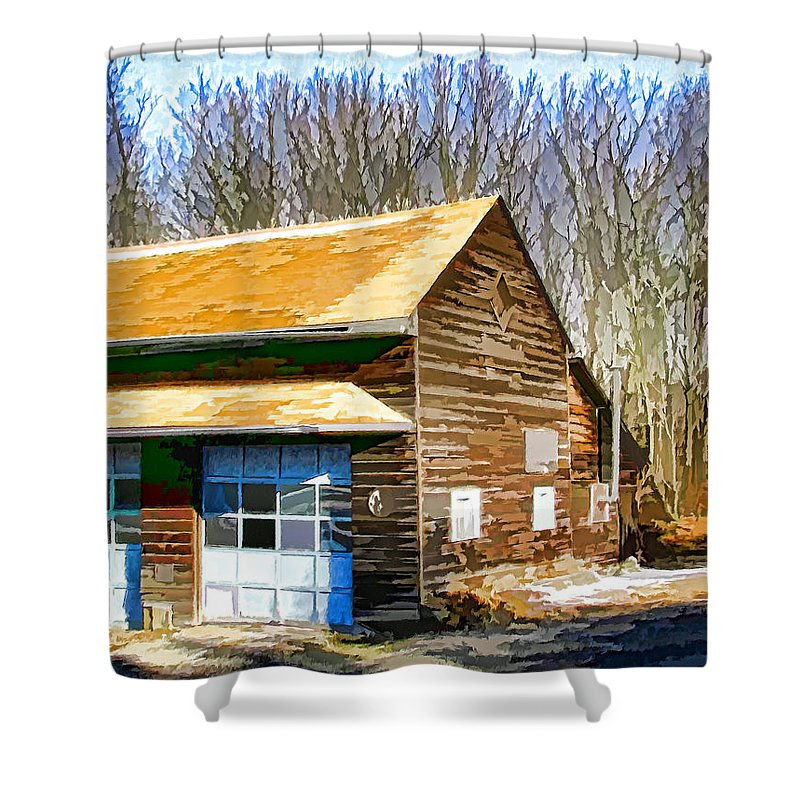 Antique Shower Curtain featuring the painting Garage 1 by Jeelan Clark