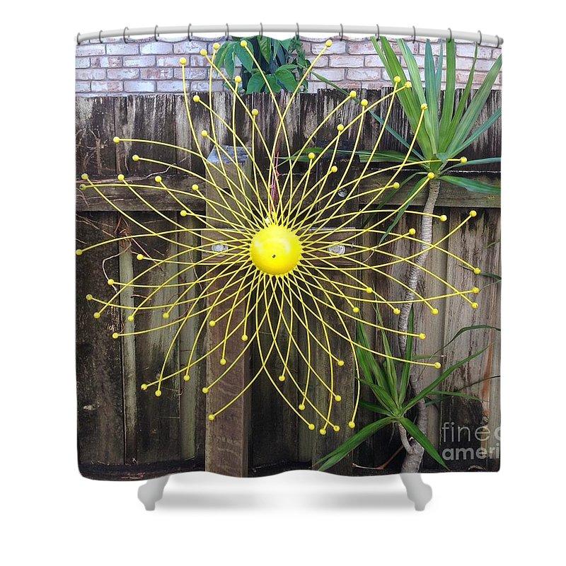 Garden Shower Curtain featuring the photograph Yellow Sunflower Garden Art by Karen Moren