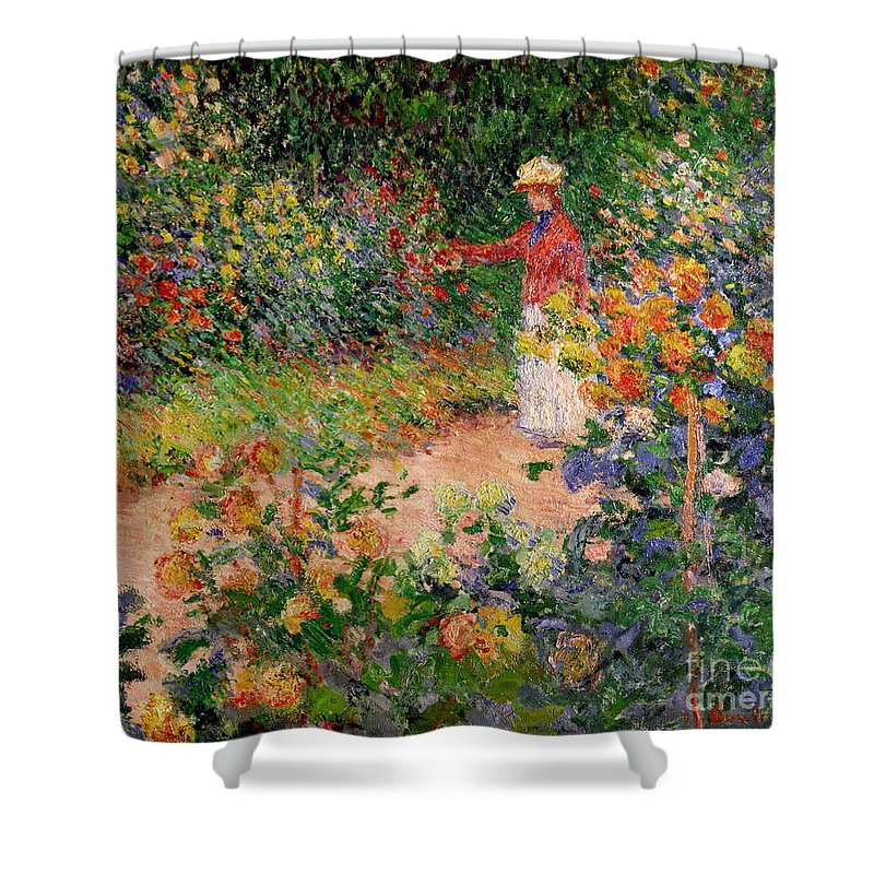 Garden At Giverny Shower Curtain featuring the painting Garden At Giverny by Claude Monet