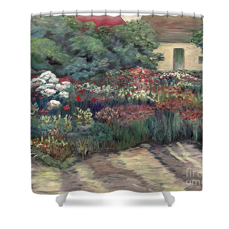 Breck Shower Curtain featuring the painting Garden At Giverny by Nadine Rippelmeyer