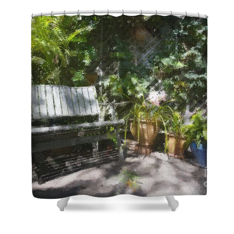 Garden Bench Flowers Impressionism Shower Curtain featuring the photograph Garden Bench by Sheila Smart Fine Art Photography