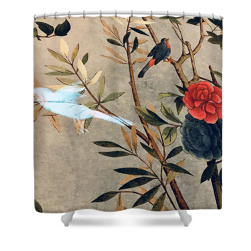 Shower Curtain featuring the photograph Garden Bird by Ceil Diskin