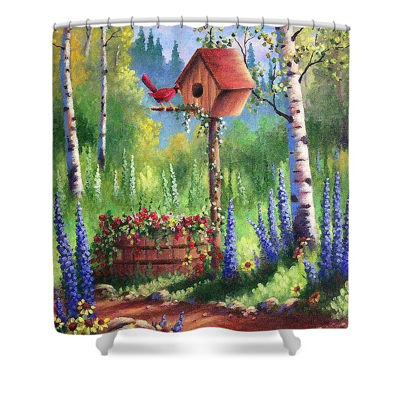Bird Shower Curtain featuring the painting Garden Birdhouse by David G Paul
