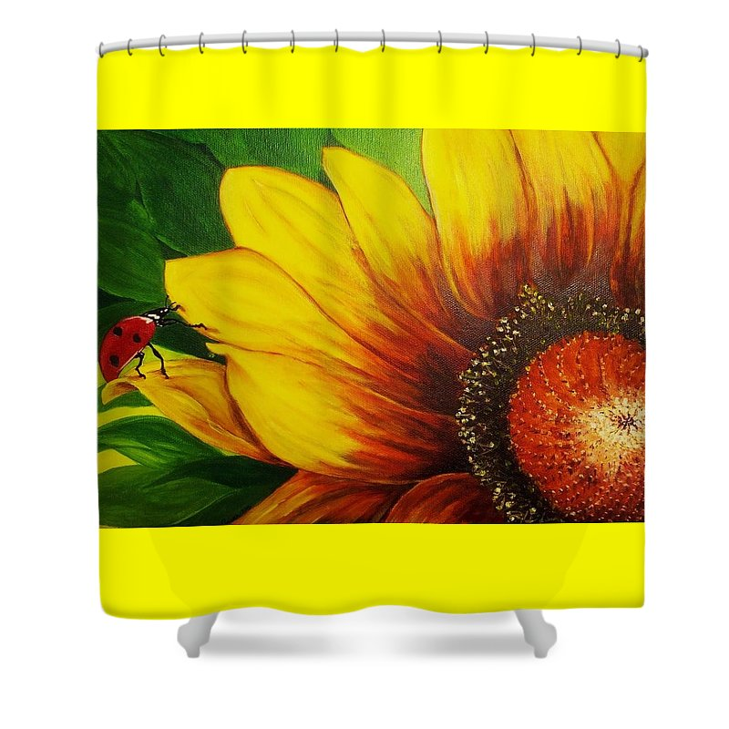 Sunflower Shower Curtain featuring the painting Garden Buddy by Vivian Casey