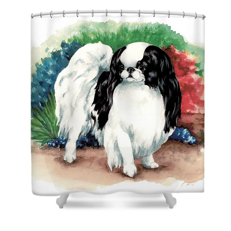 Japanese Chin Shower Curtain featuring the painting Garden Chin by Kathleen Sepulveda