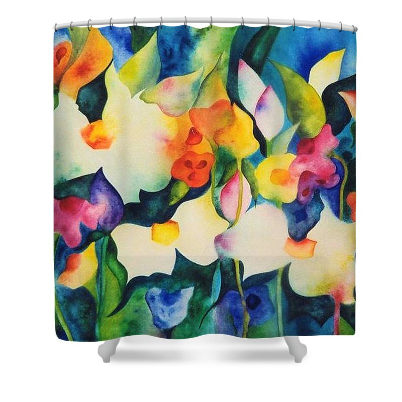 Abstract - Flowers - Garden - Foliage - Musical - Bright Colors - Water - Dream Shower Curtain featuring the painting Garden Dance by Barbara March