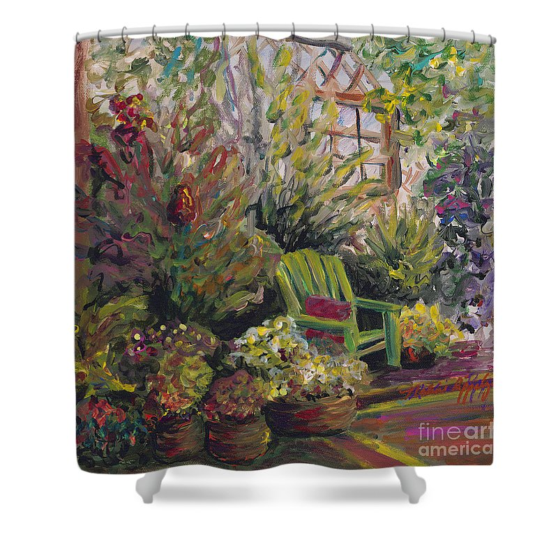 Green Shower Curtain featuring the painting Garden Escape by Nadine Rippelmeyer