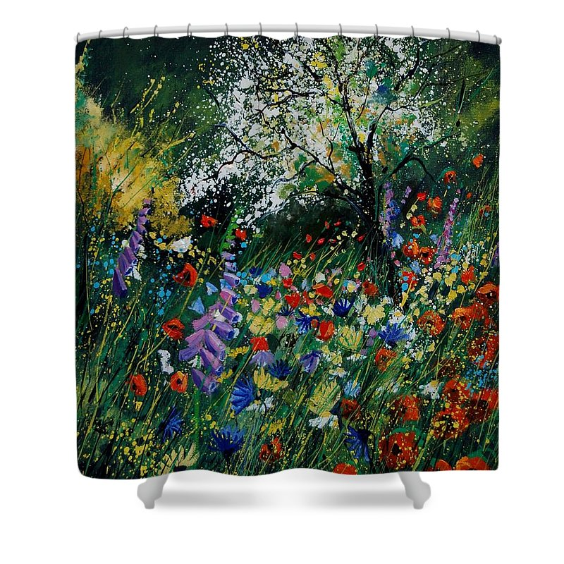 Flowers Shower Curtain featuring the painting Garden Flowers by Pol Ledent