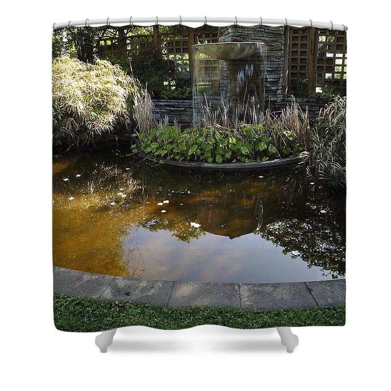 Pond Shower Curtain featuring the photograph Garden Fountain Pond by Richard Thomas