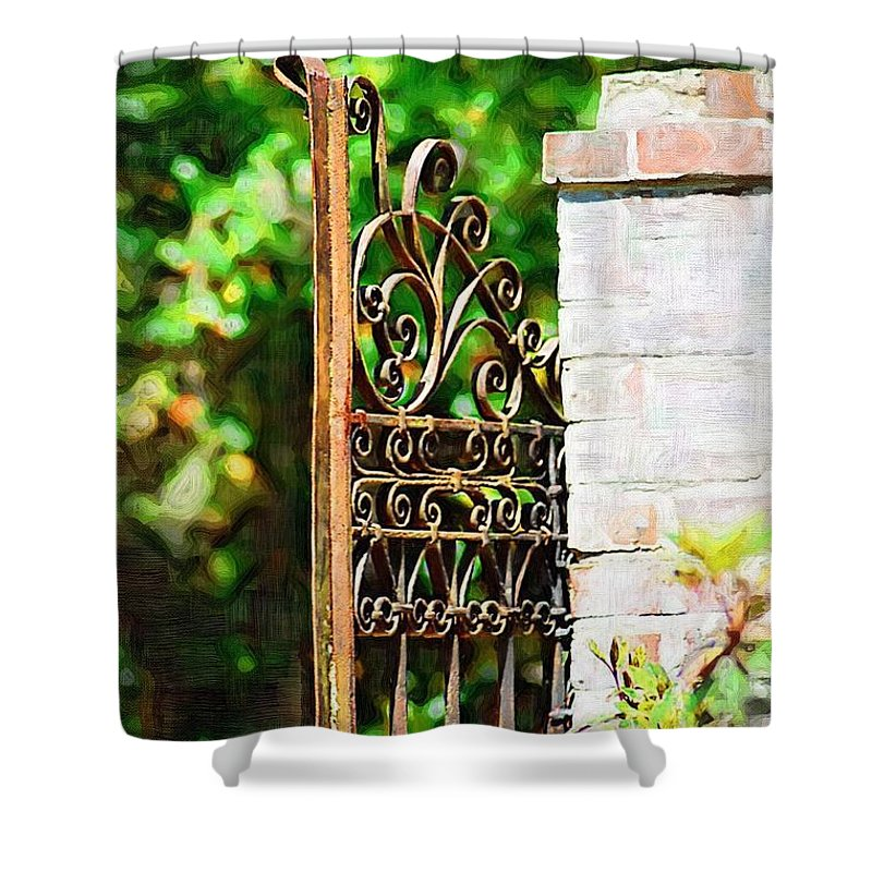 Gardens Shower Curtain featuring the photograph Garden Gate by Donna Bentley